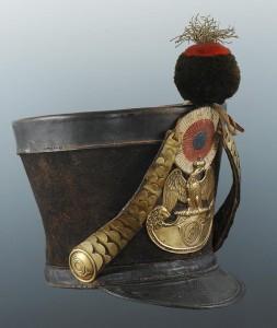 Original Tschako von 1812 eines Voltigeurs - Seitenansicht rechts
