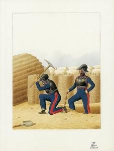 Französische Mineure beim Erstellen von Laufgräben
