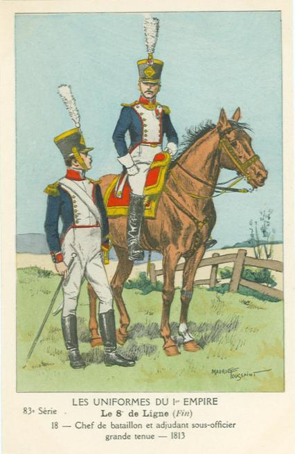 8eme-chef-de-bataillon-und-adjudant-sous-officier-in-grosser-uniform-1813