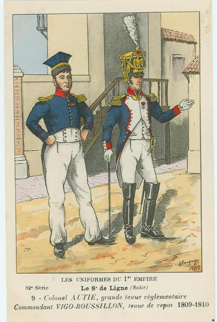 8eme-colonel-autie-in-grosser-uniform-und-chef-de-bataillon-vigo-roussillon-in-kleiner-uniform-1809-1810