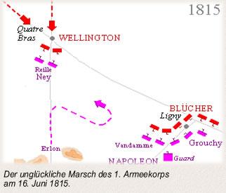 Der unglückliche Marsch des 1. Armeekorps am 16. Juni 1815.