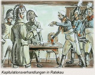 Die Schlacht bei Lübeck Kapitulationsverhandlungen in Ratekau