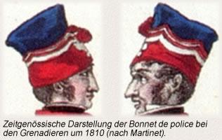 Zeitgenössische Darstellung der Bonnet de police bei den Grenadieren um 1810 (nach Martinet).