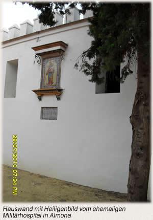 Hauswand mit Heiligenbild
