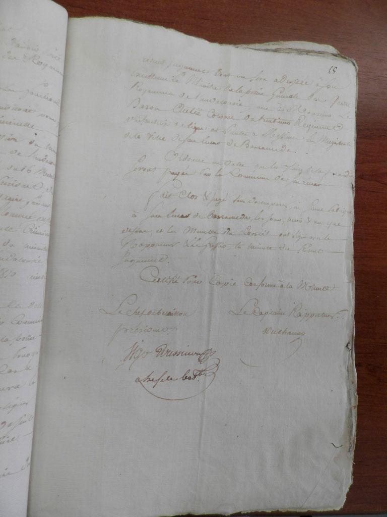 Die Originalunterschrift von Vigo-Roussillon zum Gerichtsprozess