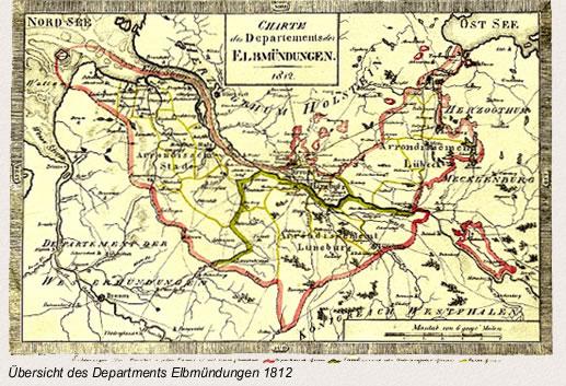 Übersicht des Departments Elbmündungen 1812
