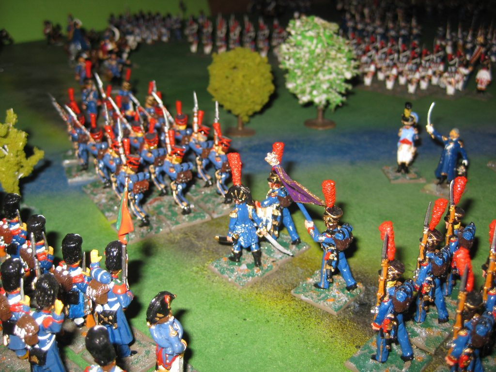 Die Infanterie überquert den Fluss