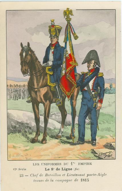 8eme-chef-de-bataillon-und-lieutenant-1-adlertraeger-in-1815