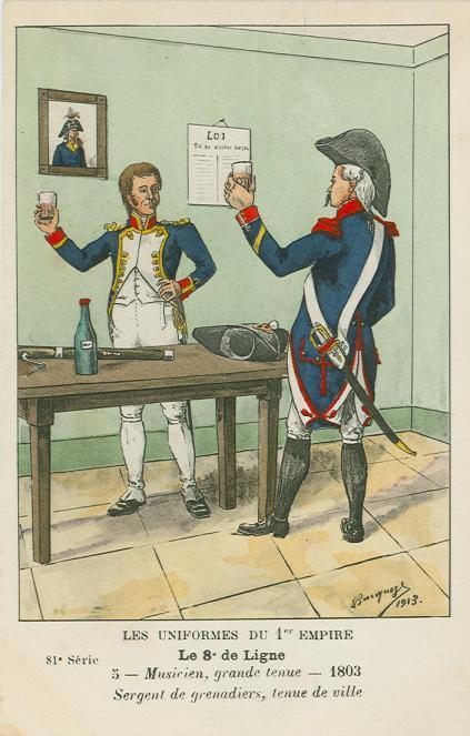 8eme - Regimentsmusiker-in-grosser-uniform-und-sergeant-der-grenadierkompaniet-1803