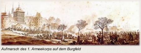 Die Schlacht bei Lübeck Armeekorps auf dem Burgfel