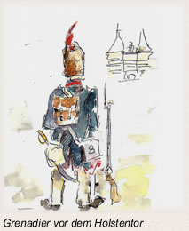 Die Schlacht bei Lübeck Grenadier vor dem Holstentor
