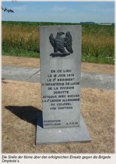 Die Stelle der 8ème über den erfolgreichen Einsatz gegen die Brigade Ompteda´s.