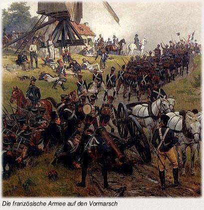 Die französische Armee auf dem Vormarsch