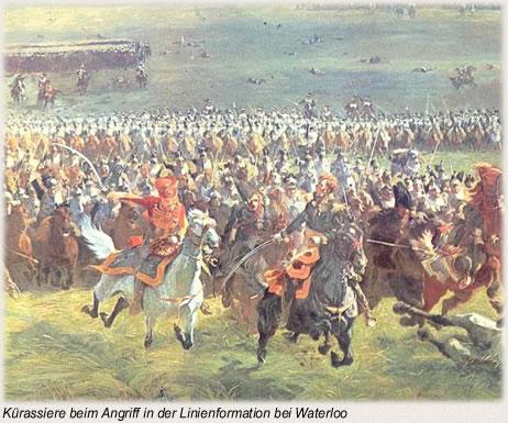 Kürassiere beim Angriff in der Linienformation bei Waterloo