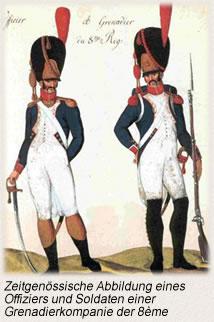 Zeitgenössische Abbildung eines Offiziers und Soldaten einer Grenadierkompanie der 8ème