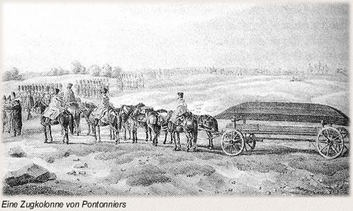 Zugkolonne von Pontonniers