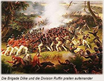 Die Brigade Dilke und die Division Ruffin prallen aufeinander