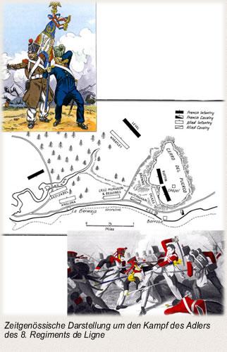 Zeitgenössische Darstellung um den Kampf des Adlers des 8. Regiments de Ligne
