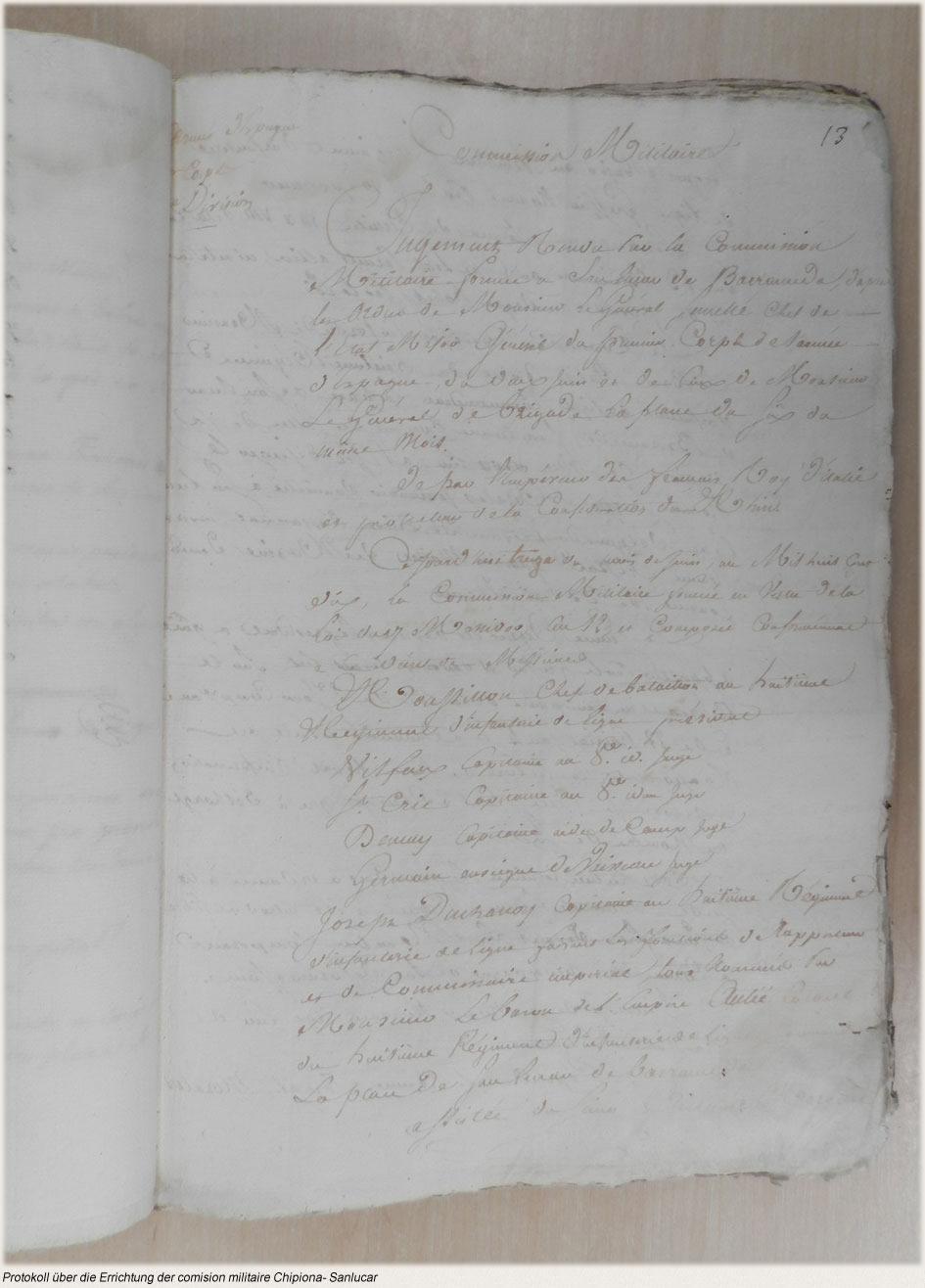 Protokoll über die Errichtung der comision militaire Chipiona- Sanlucar