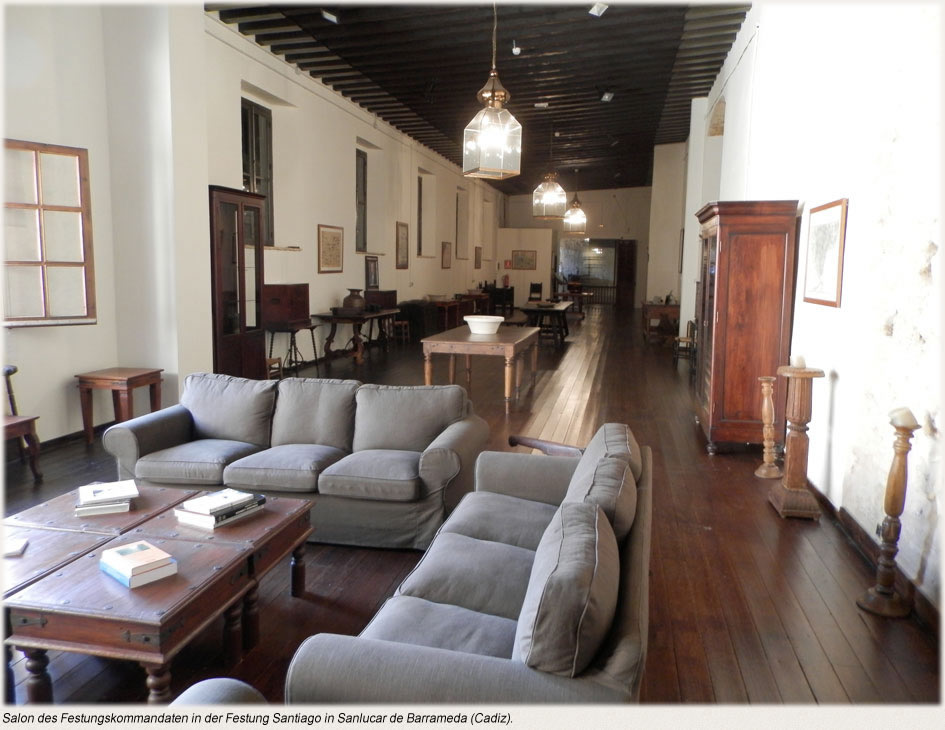 Salon des Festungskommandaten in der Festung Santiago in Sanlucar de Barrameda (Cadiz).